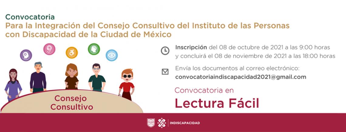Lectura Fácil. Convocatoria para la Integración del Consejo Consultivo del INDISCAPACIDAD CDMX